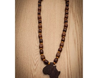 Brown Africa Necklace on Brown and Gold Beads