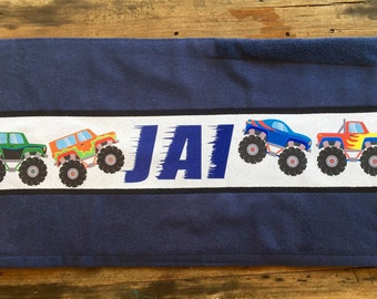 Personalised Monster Truck Towel with Name of choice Black