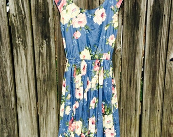 Sundress, vintage 1980s, 100% cotton, size 14, Made in USA