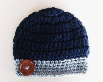 Crochet baby hat, navy newborn hat, baby boy hat, newborn boy hat, crochet newborn hat, crochet baby boy hat, navy hospital hat
