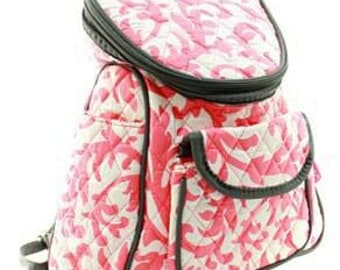 Quilted coral damask back pack