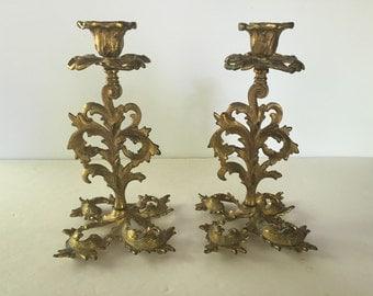 Vintage Gold Brass Acanthus Leaf Candleholders