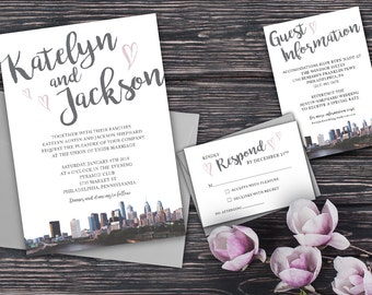 Wedding Invitations Philadelphia Skyline with hearts - Philly Wedding Invitation - Formal Philadelphia Wedding Invitation RSVP Guest Info
