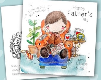 Father's Day watercolour print Greetings card with lots of sparkle!