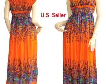 Women Maxi Dress Long dress Gypsy Dress Boho Dress Hippie Dress Summer Beach Dress  Party Dress Clothing wild Floral Printed  ...#0117