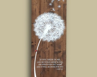 Real Wood Rustic Dandelion 14x38' Print on Stained Wood - Ladybug Wish Artwork with John 15 Bible Verse Or ANY CUSTOM text - Made in USA