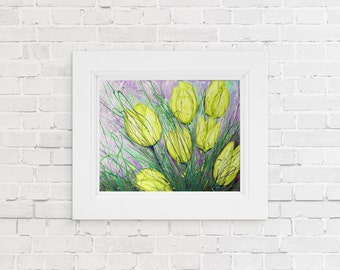 Yellow Flower Art Print, Yellow Floral Wall Art, Flower Print, Wall Art, Wall Decor, Tulip Art, Tulip Painting, Flower Print, Canvas Art