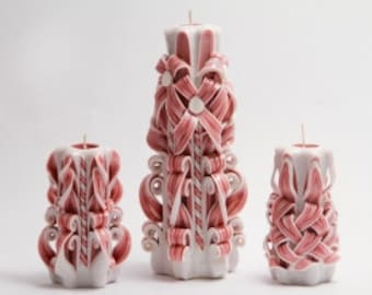 Gzhel in burgundy-carved candles