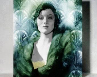 Unique Vintage Glamour Painting Portrait Myrna Loy fascinator 1920s Silent movie Art deco Golden era Retro Art Jazz Interior Design Handmade