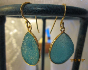 Handcrafted Victorian 14K Gold/Sterling 12.00ct Fairy Blue Druzy Quartz Dangle Earrings 5.3g, Size 37.4 x 16.2mm