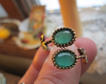 Handcrafted Style Art Deco Two-Tone Gold/925 Sterling Silver 2.00ctw Emerald & White Sapphire Ring Adjustable 7-10, Wt. 4 Grams