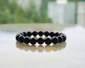 Black Onyx Bracelet,Mens Gemstone Bracelet,Mens Beaded Bracelet,Mens Bracelet,Gift for Him,Skull Bracelet,Black Bracelet,Mens Jewelry