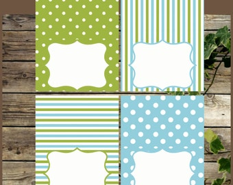 Printable Food Tents, Blue and Green Food Labels, Instant Download, Baby Shower Boy Foldable Place Cards, Printable Buffet Labels