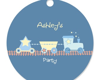 Train Personalized Party Tags - Baby Shower or Birthday Party DIY Craft Supplies- 20 Count