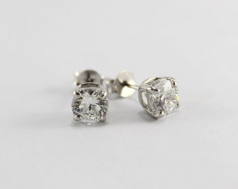 Silver Studs 92.5 Prong Setting 6mm Cubic Zirconia - FREE SHIPPING