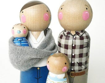 CUSTOM peg dolls- family of 4 with baby sling // personalized peg dolls // modern doll house // custom family portrait // wooden toys