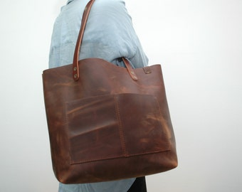 Oiled Leather Shopper  bag ,brown distressed color,coñag handles