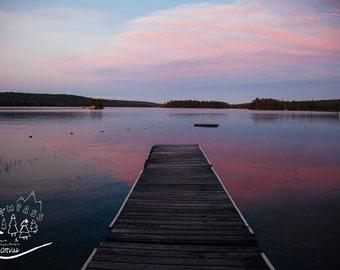 Maine Lake Landscape Photography, Lake Dock Sunset Photography, Mount Desert Art, Purple Sunset Decor, Lake House Wall Art, Cottage Artwork