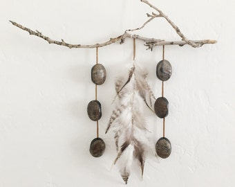 Boho branch , feather, leather and wood beads wall hanging