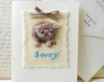 Needle felted card- Sorry handmade wool cat OOAK