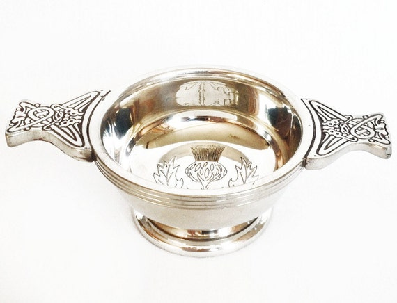 Wedding Quaich Gifts: Pewter Quaich Cup Scottish Thistle Two-handed Drinking Cup