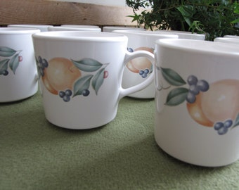 Corning Ware Coffee Mugs Abundance Pattern 1990s Discontinued Twelve (12) Coffee Cups Available Priced Individually Farmhouse Rustic