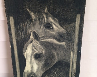 Vintage  1911 Charcoal Drawing of Two Ponies  by Edna Moss  Original Drawing  Indiana Artist  Equine Drawing