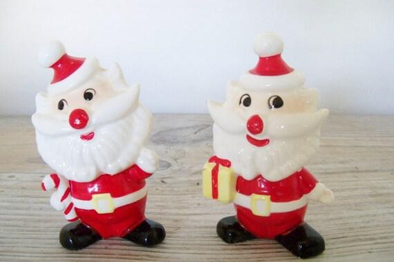 Vintage Santa Claus Salt and Pepper Shakers Christmas Shakers Whimsical Santas 1980s