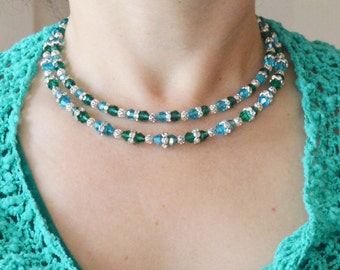 Ocean Breeze Crystals Necklace with Silver-Plated Crystal Rondel and Filigree Beads.