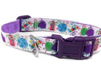 Dog collar, candy, Med-Large, purple, adjustable