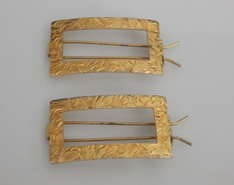 Vintage Gold Hair Barrettes  Pair of Two Gold Tone  Small Hair Clips