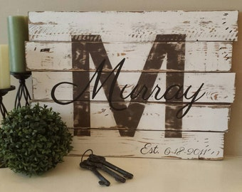 Family Established Sign - Family Name Sign - Personalized name sign - Reclaimed Wood Wall art - Anniversary Sign - New Home Gift - Wood Sign