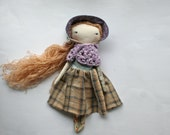 "sweet little prairie lu girl - 14""ish handmade cloth doll with soft light brown hair with sequins"