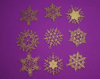 "Stars & Snowflakes -- 3.5"" Christmas Ornament Designs,  Digital Patterns for a Laser to Cut from wood, MDF, or Acrylic."
