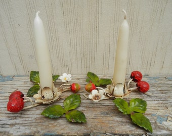 3 pc Italian Vintage Metal Strawberry Candle Holders with Matching Candle Snuff!