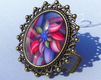 Pink flower glass cabochon ring, fuchsia and blue 18 x 25 mm, bronze metal adjustable handmade