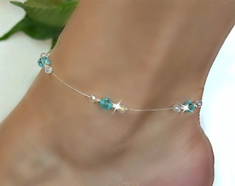 Aqua Blue Swarovski Crystal Stretch Anklet