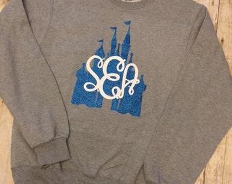 Glitter Monogram Disney Castle Shirt