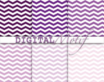 Purple Digital Paper, Instant Download Chevron, Printable Paper, Digital Download - 300 PPI - JPG