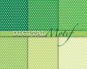 Green Digital Paper, Polka Dot Digital Download Paper, Instant Download Green & White Polka Dot, Printable Paper, - 300 PPI - GRN