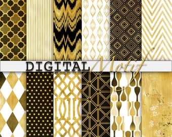 Black and Gold Digital Paper, Gold and White Digital Download Paper, Printable Decoupage Paper, Instant Download - DMAU