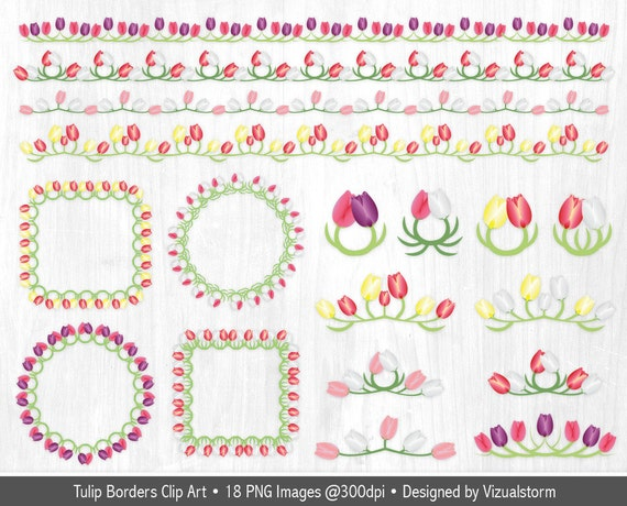 Spring Floral Border Clip Art digital tulip frames by ... Tulips Clip Art Border
