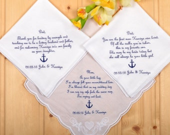 Personalized 3 Wedding Handkerchiefs for father in law, mother in law, and mom. Parents handkerchief customized gift with anchor in navy !