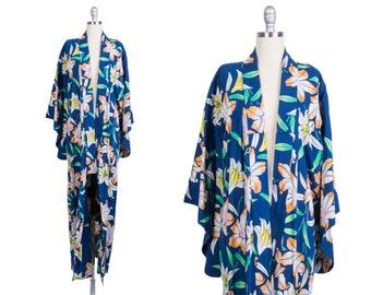 Vintage 1960s Kimono // 60s house coat // floral robe
