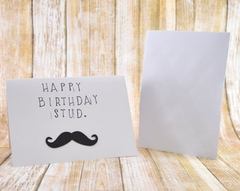 Funny Birthday Card for Him, Happy Birthday Stud, Black Mustache Card, Happy Birthday Card, Birthday Card, Male Birthday Card