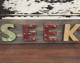 SEEK Wood Sign