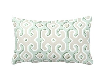 Items similar to Green Lumbar Pillow, Green White throw pillow cover, emerald Green Pillows ...