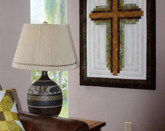 Cross Quilt Pattern - Log Cabin Christian Cross - Wall hanging: 33 inch x 45 inch