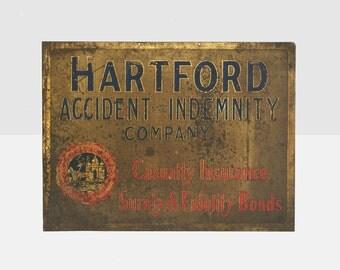 antique brass hartford insurance sign, antique brass insurance sign, antique advertising sign, antique metal sign, , hartford insurance sign