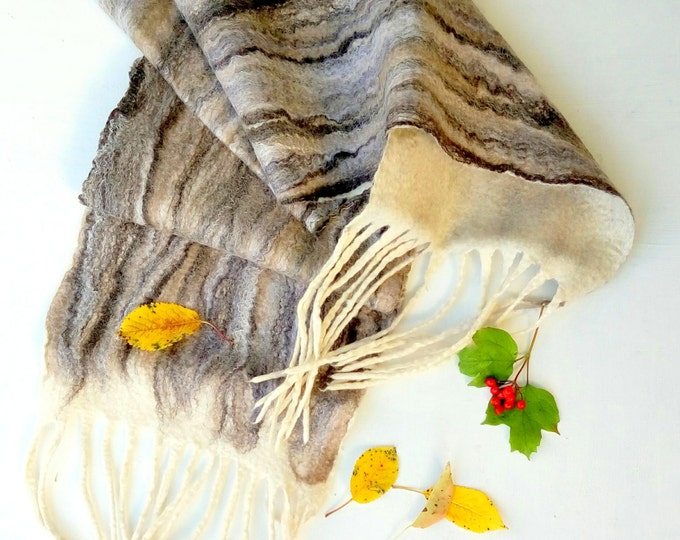 Felted scarf Brown earth color Fall felt scarf Felt scarves Merino wool scarf Winter scarf with tassels Long scarf Unisex scarf ecofriendly